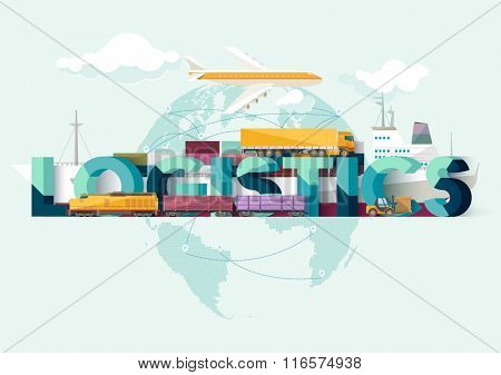 Global freight transportation. Typographic poster.