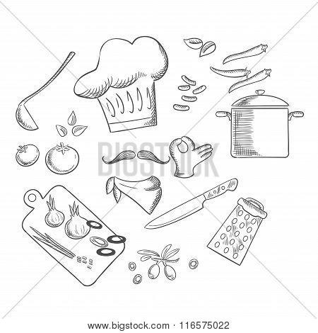 Chef preparing vegetarian salad, sketch icons