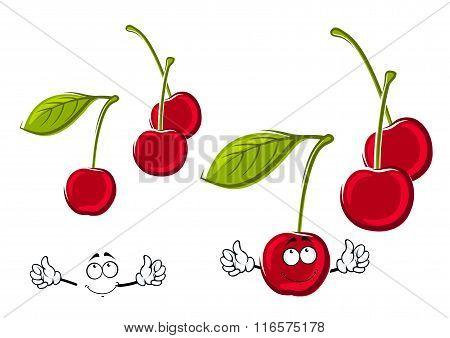 Cartoon juicy red cherries fruits