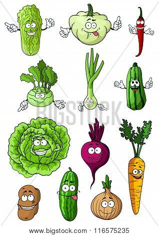 Happy fresh cartoon vegetables characters