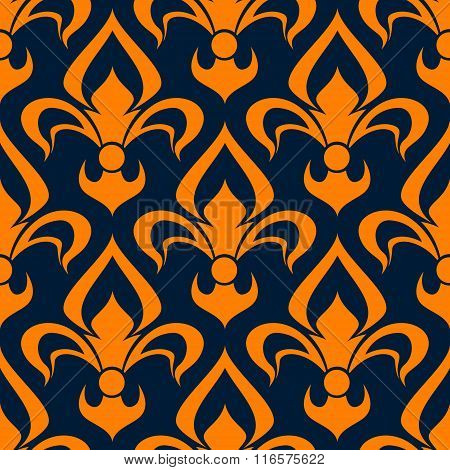 Orange and blue floral seamless pattern