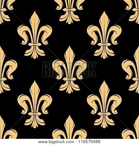 Vintage golden fleur-de-lis seamless pattern