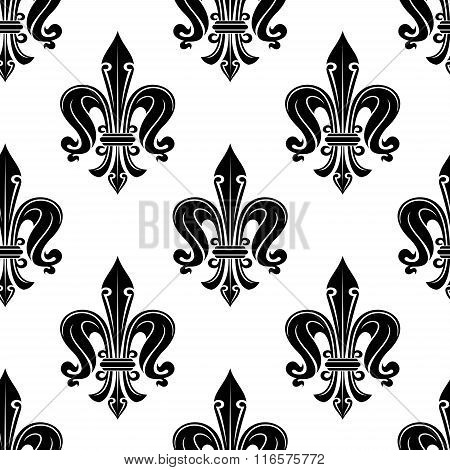 Black french fleur-de-lis seamless pattern