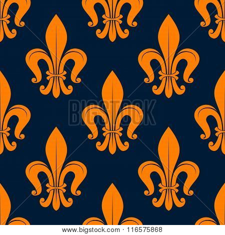 Orange fleur-de-lis floral seamless background