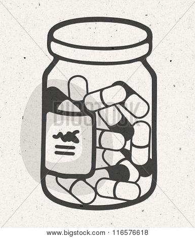 cartoon bottle of medical capsules