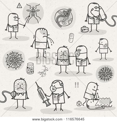 set of medical black and white cartoons - DISEASES AND VIRUS