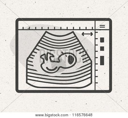 cartoon ultrasound monitor