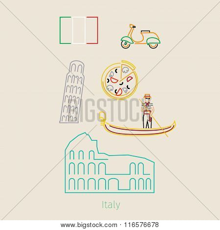 Concept of travel or studying Italian.