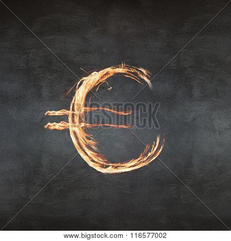 Euro symbol fire
