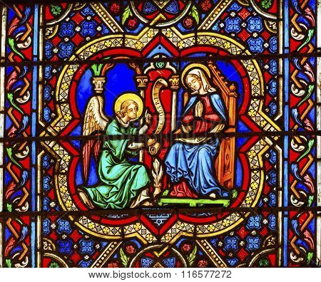 Annunciation Angel Mary Stained Glass Notre Dame Cathedral Paris France