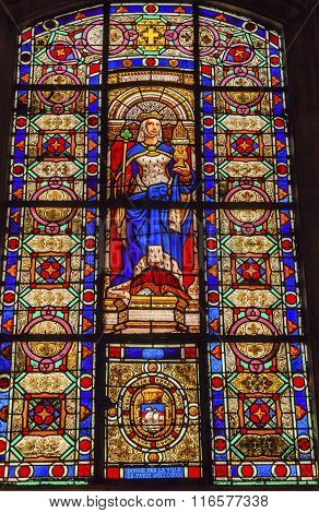 Queen Blanche Of Castile Stained Glass Basilica Saint Louis En L'ile Church Paris France