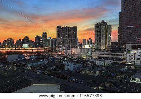 Business Building Bangkok City Area At Night Life