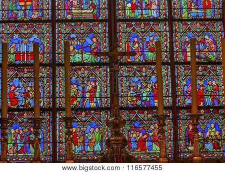 Altar Crucifix Middle Ages Stained Glass Notre Dame Cathedral Paris France
