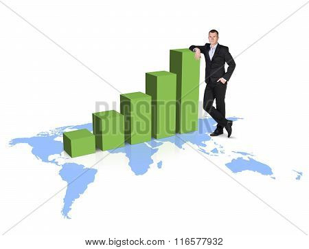 Businessman stands near growth up graph on the map