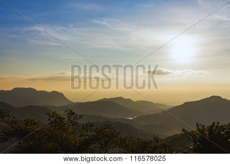 Sunrise Over Mountains Under Mist In The Morning At Khao Kho National Park, Phetchabun Province, Tha