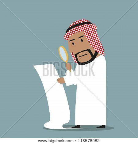 Arabian businessman reading big contract