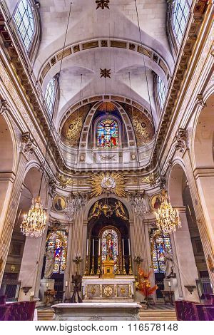 Basilica Stained Glass Church Saint Louis En L'ile Paris France