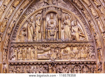 Biblical Statues Virgin Mary Baby Jesus Notre Dame Cathedral Paris France