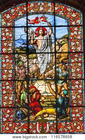 Jesus Christ Ressurection Stained Glass Basilica Saint Louis En L'ile Church Paris France