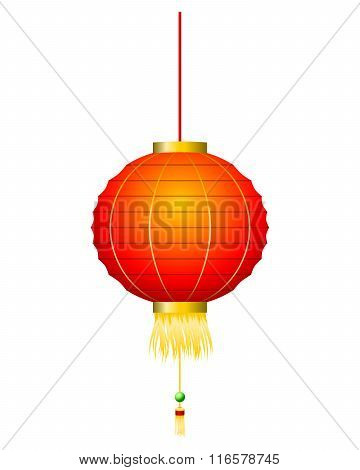 Chinese Red Lantern Isolated On White