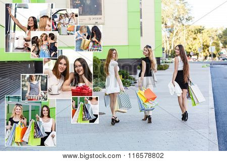 Girlfriends with shopping bags