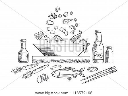Seafood dish sketch with fish and vegetables