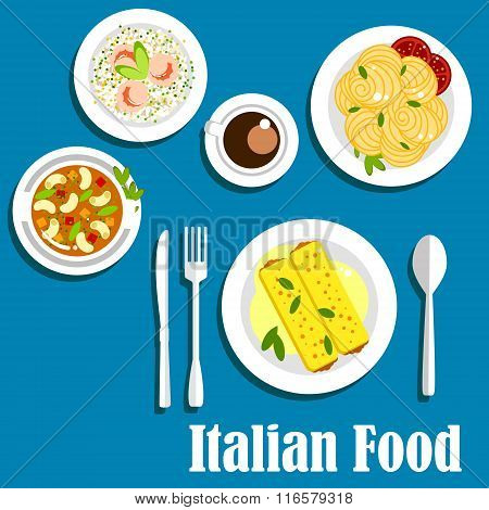Italian cuisine with pasta and risotto