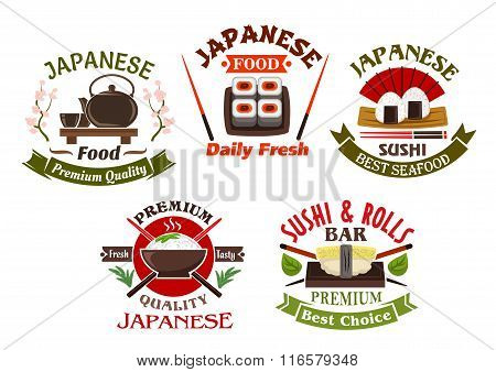 Japanese cuisine restaurant and sushi icons
