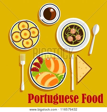 Portuguese cuisine empanadas, egg tarts and coffee