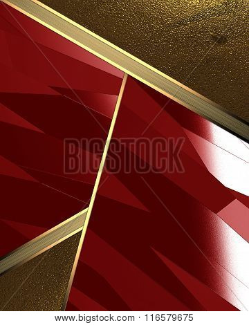Abstract Background Of Gold Leaf And Red Cutout. Element For Design. Template For Design. Copy Space