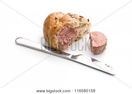 meat pate and bun on white background
