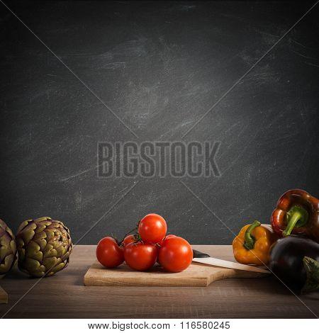 Recipe or menu  on blackboard