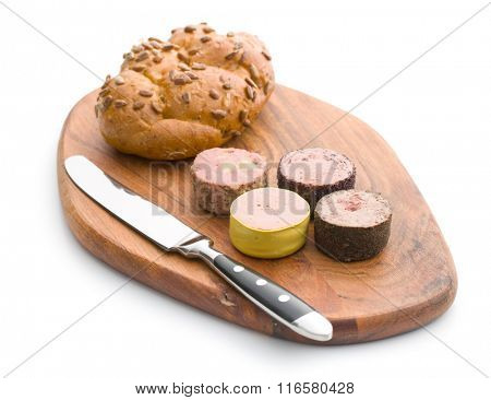 meat pate with different flavors on cutting board
