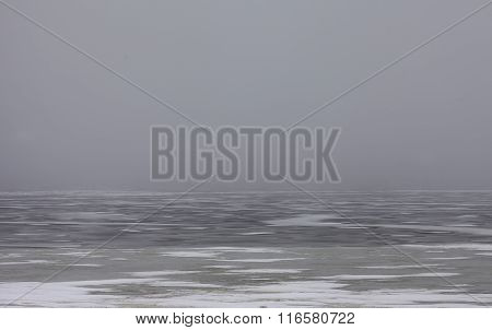 snowfield scenery on big lake