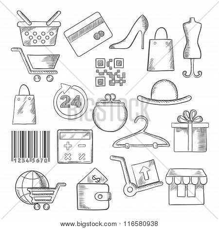 Shopping, business and commerce sketch icons