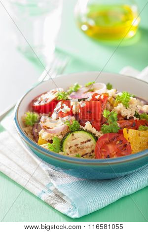 healthy couscous salad with grilled tomato pepper zucchini onion