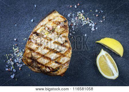 Barbecue Swordfish Steak on Stone Board