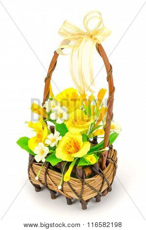 White And Yellow Flowers In The Wicker Basket