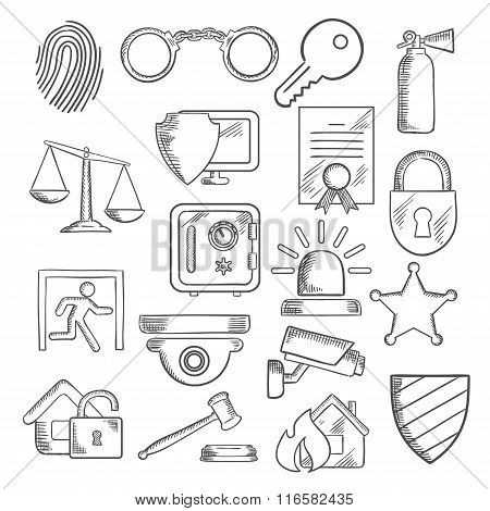 Security and protection icons in sketch style