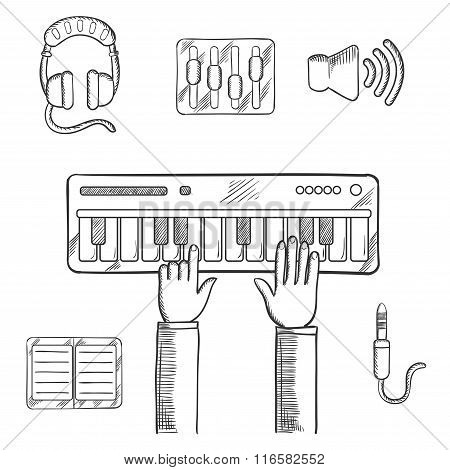 Sound recording and music icons sketch