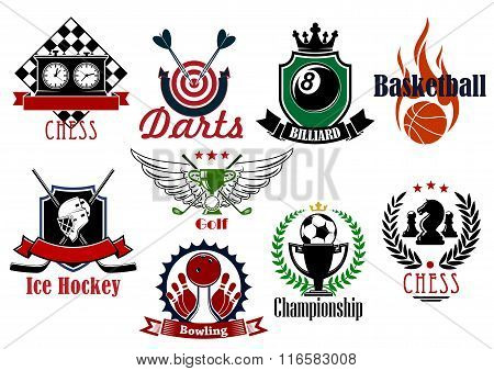 Various sports heraldic symbols and icons