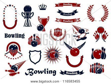 Bowling game items and heraldic elements