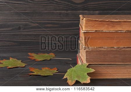 Stack Of Books With Autumn Maple Leaves