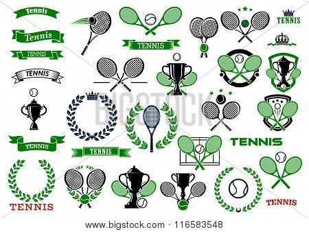 Tennis sport game icons and symbols