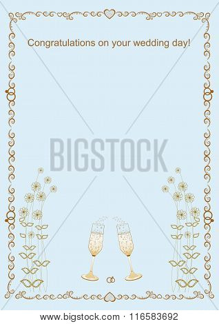 Congratulations with the wedding frame vector illustration