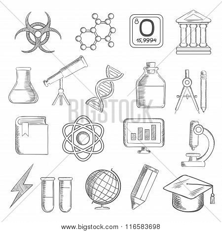 Science and education sketched icons
