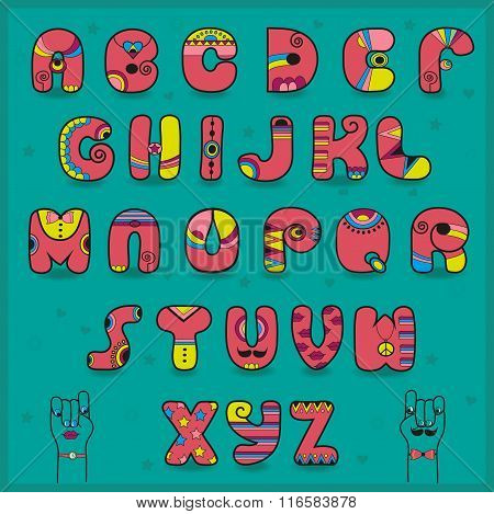 Candy Alphabet. Funny Pink And Yellow Letters
