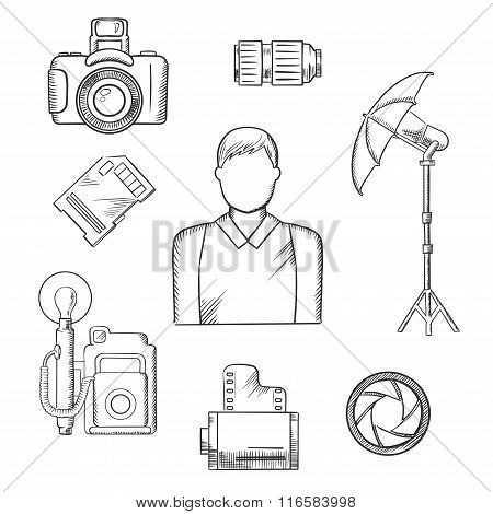 Photographer with equipment and items sketches