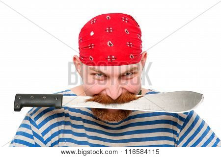Pirate Keeping A Knife In His Teeth.