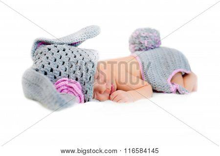 Sleeping Newborn Baby Dresses Easter Bunny.